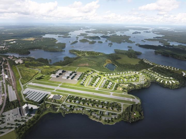 Havainnekuva Mänttä-Vilppulaan suunnitellusta ilmailualan puistosta. Lehtikuva / handout / Lakeside Airpark Finland