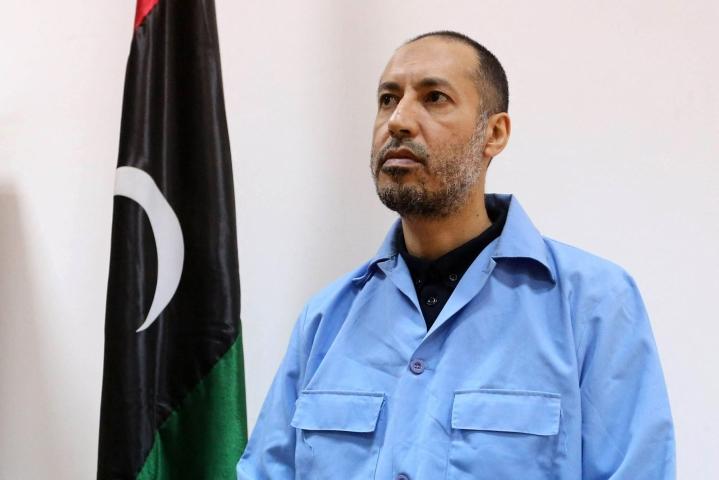 Entinen jalkapalloilija Saadi Gaddafi tuomittiin seitsemän vuotta sitten vankeuteen syytettynä rikoksista vuoden 2011 arabikevään protestoijia vastaan.  LEHTIKUVA/AFP