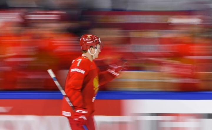 Kaprizov kuvassa Venäjän paidassa jääkiekon MM-kisoissa 2018. Lehtikuva/AFP