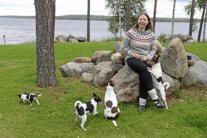 Kirsi Hautakankaan kennelissä on säpinää, kun tentut ja brassit kirmailevat yhdessä. Pihalla olivat Tintta (vas.), Sheba, Bella ja Valtteri.