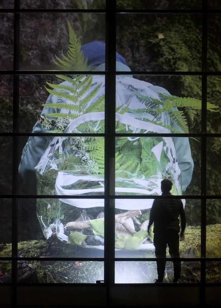 Herbarium-installaatio näkyy kauas. Parkkinen antaa kuvalle mittakaavan seisomalla sen edessä.