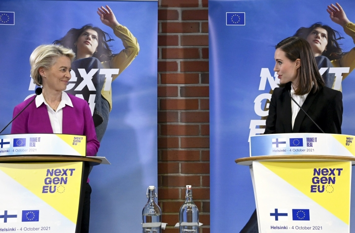 Komissio esitteli arvionsa samalla, kun puheenjohtaja Ursula von der Leyen vierailee Helsingissä.  LEHTIKUVA / MARKKU ULANDER