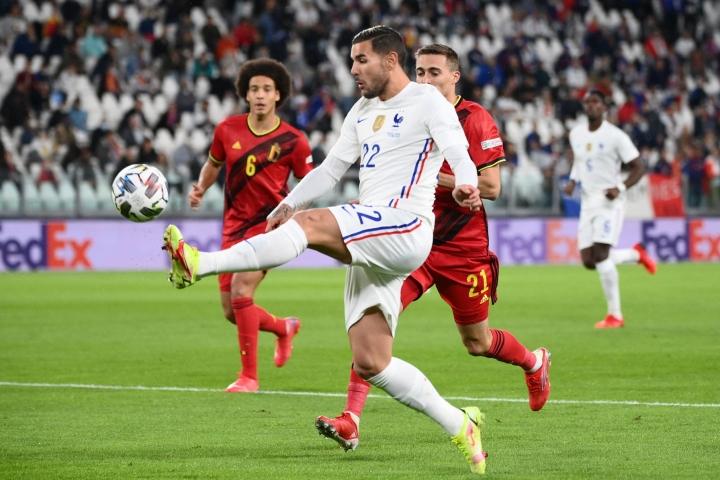 Ranskan viime minuutin voittomaalin iski Theo Hernandez. LEHTIKUVA / AFP