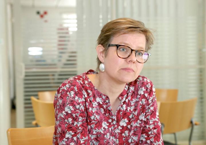 Krista Mikkonen arkistokuvassa huhtikuussa 2019.