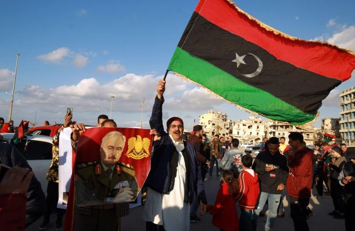 Libyan Benghazissa muistettiin Muammar Gaddafin kaatanutta vallankumousta. LEHTIKUVA/AFP