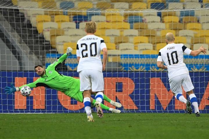 Suomi ja Ukraina kohtasivat maaliskuussa, jolloin tuloksena oli Kiovassa 1–1-tasapeli. LEHTIKUVA / AFP