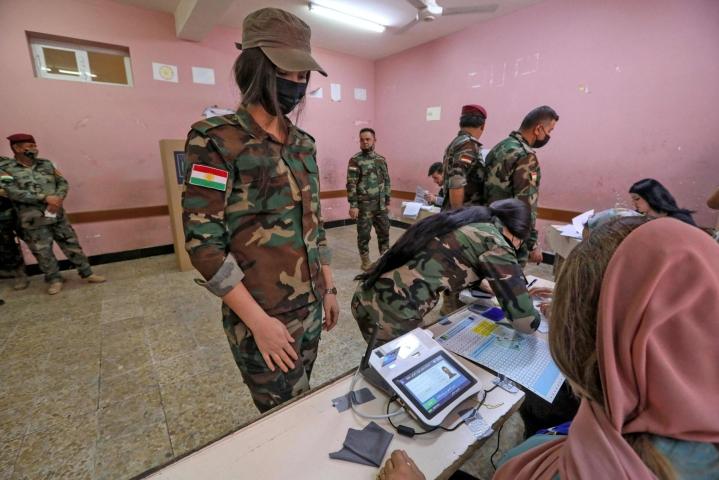 Äänestystä sävyttää Irakin turvallisuustilanne, joka on yhä hyvin epävakaa, sillä väkivaltaiset iskut eri puolilla maata ovat arkipäivää. LEHTIKUVA / AFP