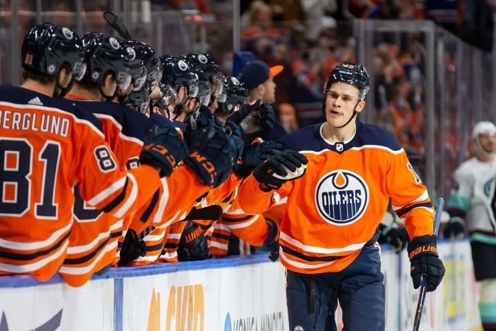 Jesse Puljujärvi teki kaksi maalia Winnipegin verkkoon. LEHTIKUVA/AFP