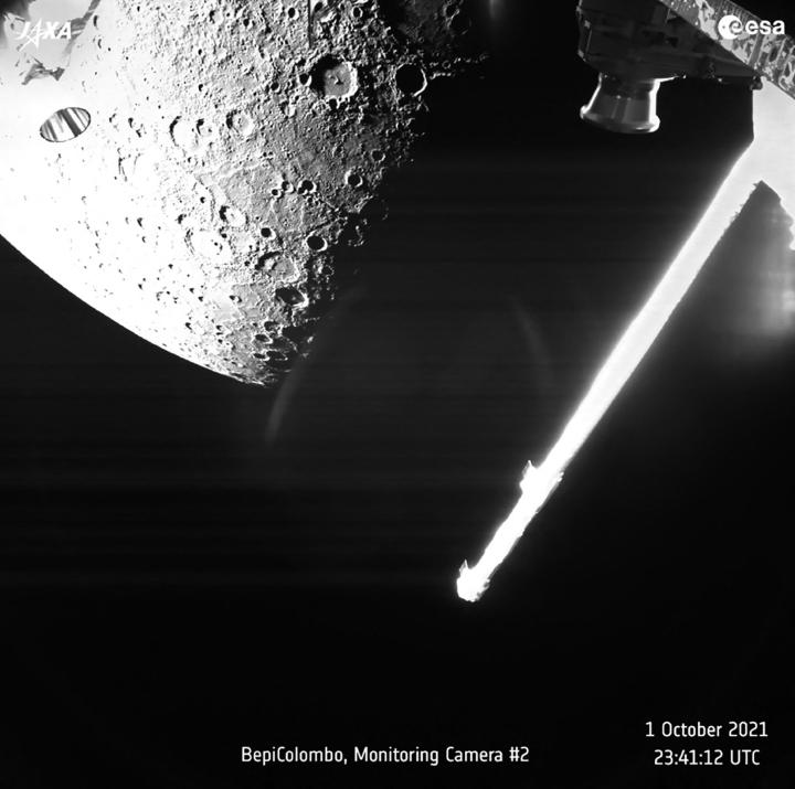 Esan ja Jaxan yhteinen avaruusluotain BepiColombo on lähettänyt takaisin ensimmäiset ottamansa lähikuvat Merkuriuksesta. LEHTIKUVA/AFP
