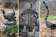 """Edesmenneen rääkkyläläisen Simo Kurjen kiviveistokset hautautuivat autiotalon ympäristöön - naapurit puhdistivat työt ja kokosivat ne yhteen, ja kyläyhdistys avusti: """"Hahmoja on pitänyt käsitellä varovasti"""""""