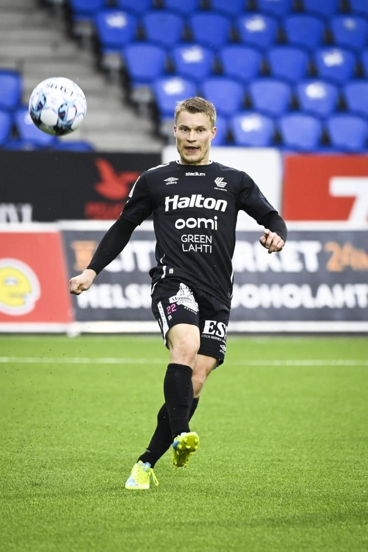 Loorents Hertsi teki toisen FC Lahden maaleista. LEHTIKUVA / Emmi Korhonen