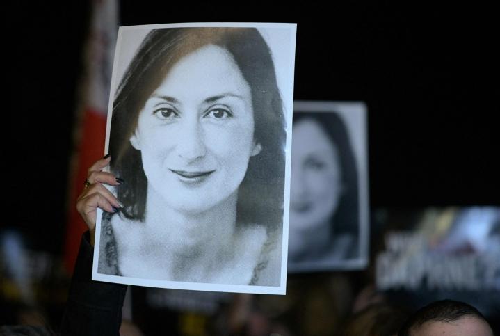 EU-parlamentin journalismipalkinto on arvoltaan 20000 euroa. Palkinto on nimetty murhatun maltalaisen toimittajan Daphne Caruana Galizian (kuvassa) mukaan. Lehtikuva/AFP