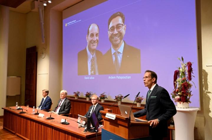 Lääketieteen Nobel-palkinnon saavat David Julius ja Ardem Patapoutian. Palkinnosta kertoi Nobel-komitean sihteeri Thomas Perlmann (oik.). LEHTIKUVA / AFP