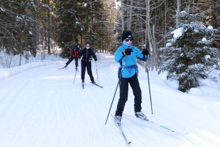 Aapo, Sanni ja Pekka Koistinen olivat Kolin maisemahiihdossa kolmatta kertaa. Sopivalla vauhdinjaolla 30 kilometriä sujuu mukavasti.