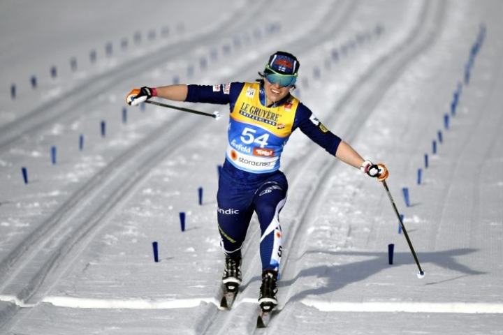 Krista Pärmäkoski hävisi niukasti MM-pronssin Norjan Ingvild Flugstad Östbergille perinteisen hiihtotavan kympillä. LEHTIKUVA / Vesa Moilanen