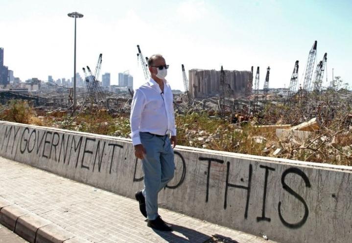 Beirutin satamassa kuun alussa tapahtuneessa räjähdyksessä tuhoutui muun muassa kaksi viljasiiloa. LEHTIKUVA/AFP
