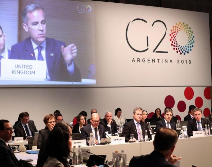 20 johtavan talousmahdin valtiovarainministerit ja keskuspankkien johtajat olivat viikonloppuna koolla Argentiinan Buenos Airesissa. LEHTIKUVA/AFP