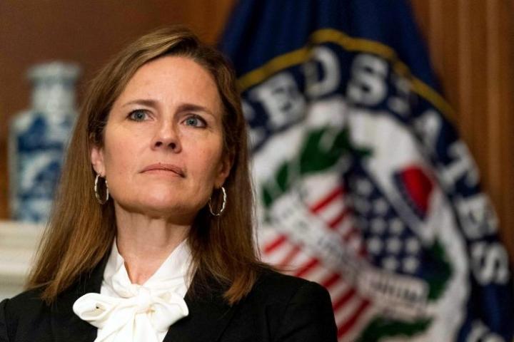 Amy Coney Barrett on presidentti Trumpin ehdokas korkeimman oikeuden tuomariksi. LEHTIKUVA / AFP