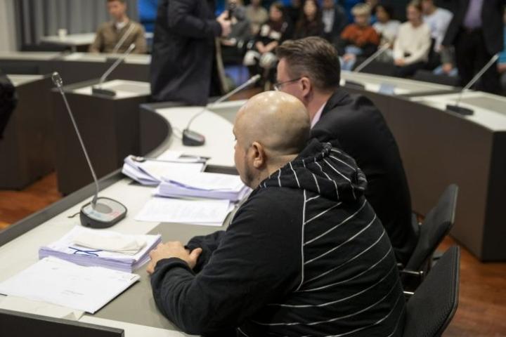 Oikeuden mukaan syyttäjien todisteet 44-vuotiasta espoolaismiestä vastaan eivät riittäneet. Kuva Varsinais-Suomen käräjäoikeudesta 10. helmikuuta. LEHTIKUVA / Roni Lehti