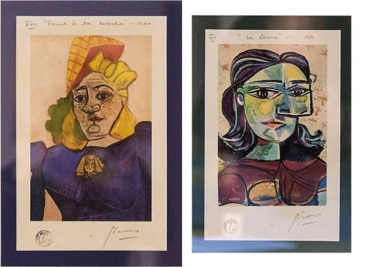 Jyväskylän myyntinäyttelyssä oli esillä useita vedoksia, joita väitettiin aidoiksi Picassoiksi.