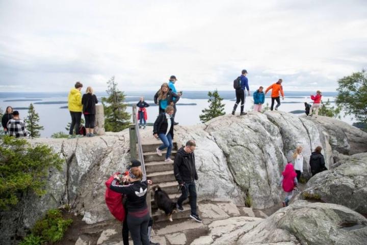 Ukko-Kolin huipulla on ollut viime kesinä ajoittain jo ruuhkaa.