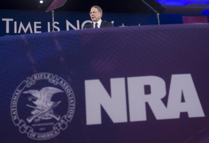 NRA ilmoitti tammikuussa jättäneensä konkurssihakemuksen. LEHTIKUVA / AFP
