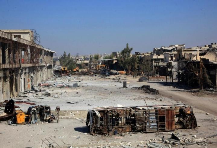 Aleppo on pahoin tuhoutunut Syyrian sodassa. LEHTIKUVA/AFP