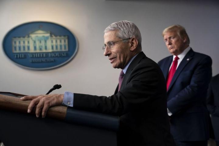 Heinäkuussa 2020 Anthony Fauci esiintyi Valkoisen talon tiedotustilaisuudessa, joka käsitteli Yhdysvaltain koronavirustilannetta. Faucin mukaan hän ei pyrkinyt haastamaan istuvaa presidenttiä Donald Trumpia, mutta joutui kysyttäessä usein oikomaan tämän lausuntoja.