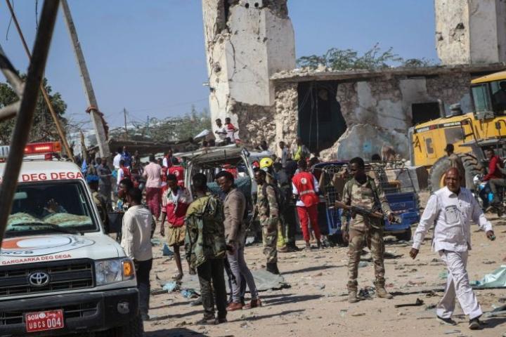 Mogadishussa viikonloppuna tehdyssä terrori-iskussa kuoli noin 80 ihmistä. LEHTIKUVA/AFP