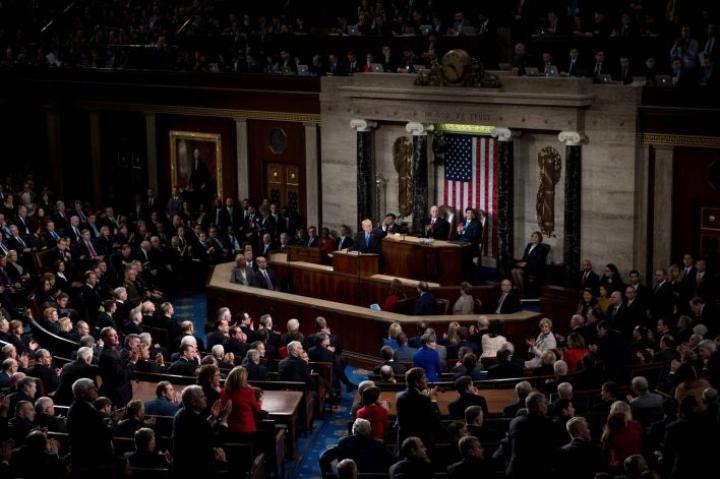 Jokavuotinen State of the Union -puhe on presidenteille yksi vuoden tärkeimmistä tilaisuuksista. LEHTIKUVA / AFP