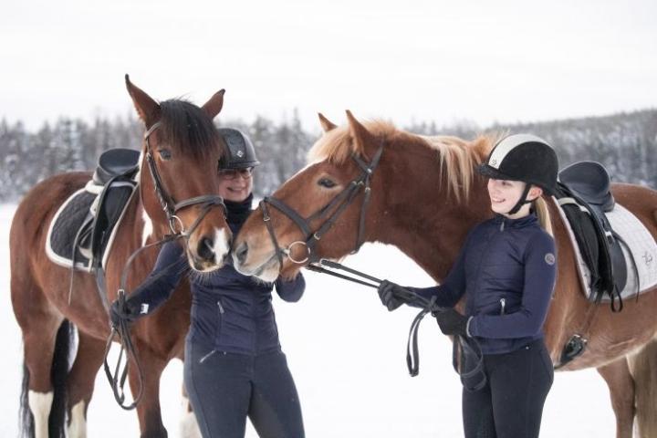 Miiko Taka (vas.) ja Siiri Meijanen sekä ratsut Esko ja Helge yhteisen ratsastustuokion jälkeen.