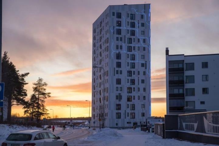 Tämäkin voi olla ilmastokestävä vientituote Pohjois-Karjalassa: puurunkoinen kerrostalo. Taloa ei voi viedä, mutta siihen liittyvää osaamista voidaan viedä.