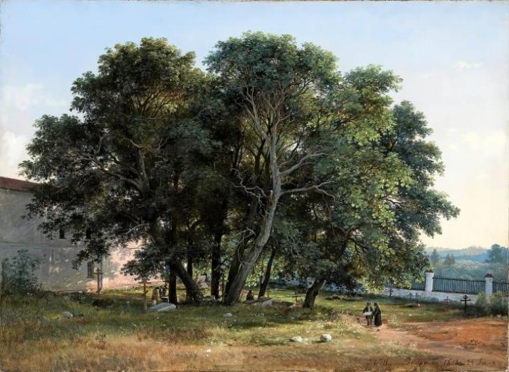 Ivan Siskinin teos Kirkkotarhassa kuvaa kesäpäivää heinäkuusa 1858.