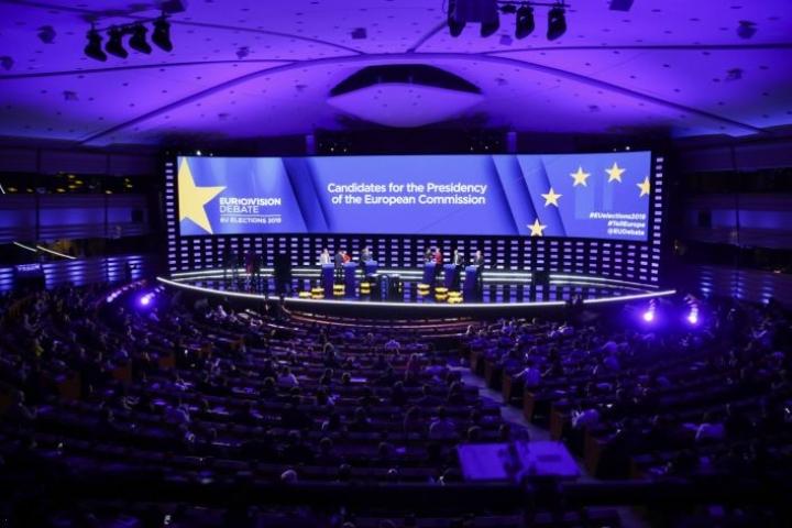 Vaaliväittely televisioitiin samaan aikaan ympäri Eurooppaa. LEHTIKUVA/AFP