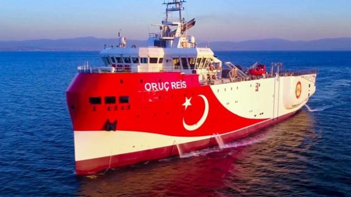 Turkin puolustusministeriön 12. elokuuta julkaisema valokuva Oruc Reis -aluksesta Välimerellä. LEHTIKUVA / AFP / HANDOUT / TURKISH DEFENCE MINISTRY