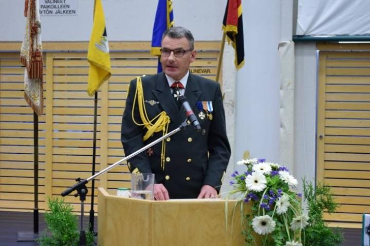 Pohjois-Karjalan rajavartioston komentaja, eversti Vesa Blomqvist puhui muun muassa kenraalimajuri Erkki Raappanasta.