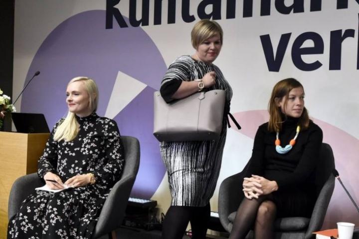 Vihreiden puheenjohtaja Maria Ohisalo, keskustan puheenjohtaja Annika Saarikko ja vasemmistoliiton puheenjohtaja Li Andersson osallistuivat puoluejohtajien kuntavaalipaneeliin.