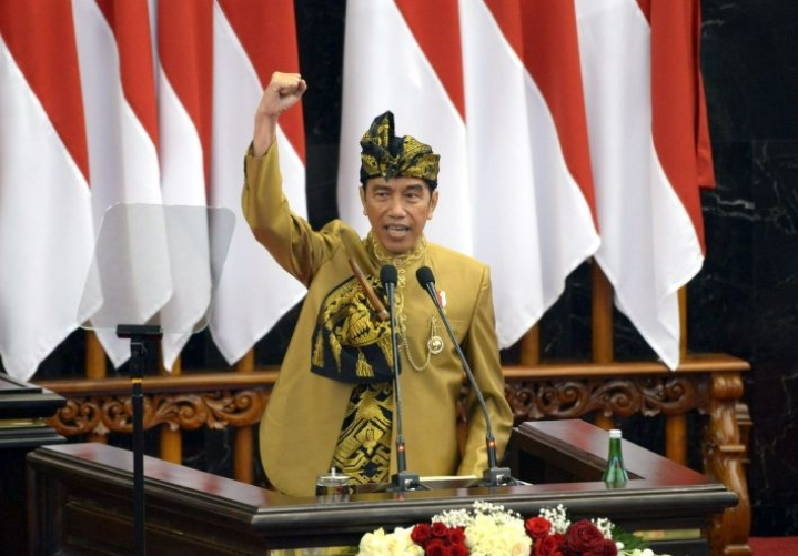 Uuden pääkaupungin ehdotettu sijainti on lähellä Balikpapanin ja Samarindan kaupunkeja Itä-Kalimantanin provinssissa, kertoi Indonesian presidentti Joko Widodo puheessa. LEHTIKUVA / AFP / ANDRI NURDRIANSYAH