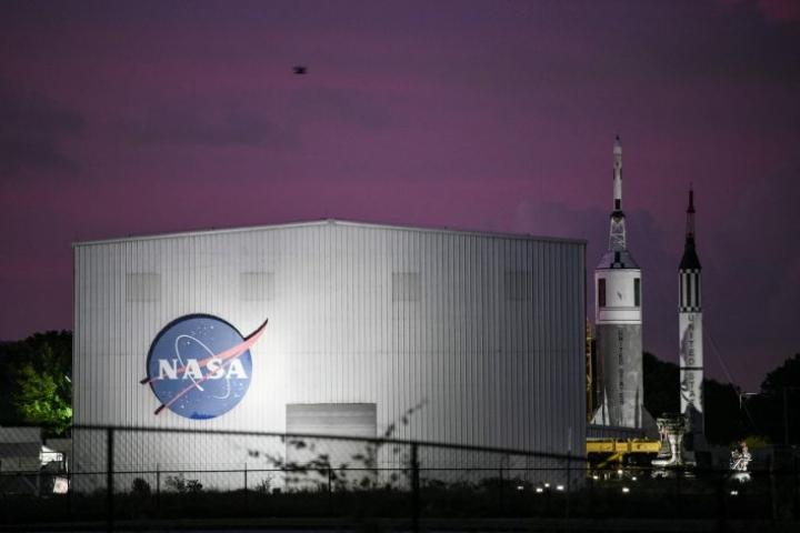 Merkkipäivää juhlittiin Houstonin avaruuskeskuksessa, jossa sijaitsi myös Apollo-lentojen komentokeskus. Lehtikuva / AFP