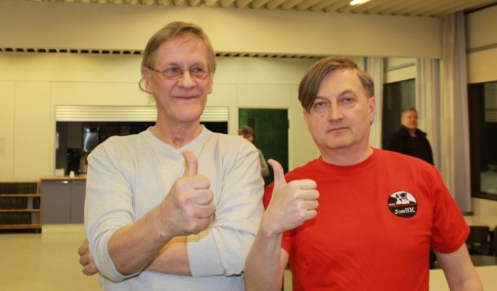 Risto Niemelä (oik.) voitti A-sarjan, lieksalainen Timo Piironen B-sarjan.