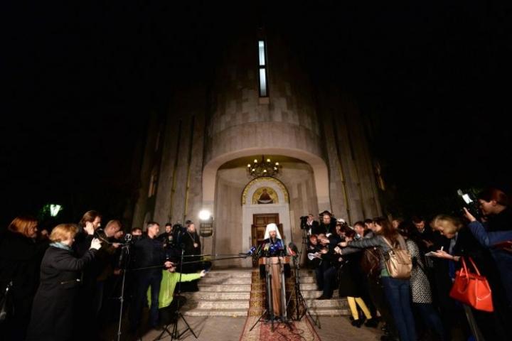 Moskovan ortodoksikirkko kertoi eilen katkaisevansa suhteensa Konstantinopolin patriarkaattiin. Asiasta ilmoitti metropoliitta Hilarion. LEHTIKUVA/AFP