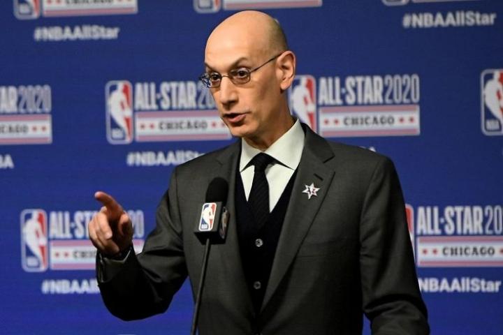 Jos virus leviäisi merkittävästi, NBA-kausi keskeytettäisiin taas, sanoo liigan komissaari Adam Silver. LEHTIKUVA/AFP
