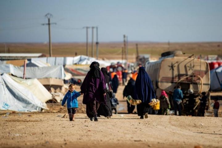 Koronaviruksen pelätään tekevän pahaa jälkeä al-Holin leirillä. Lehtikuva/AFP