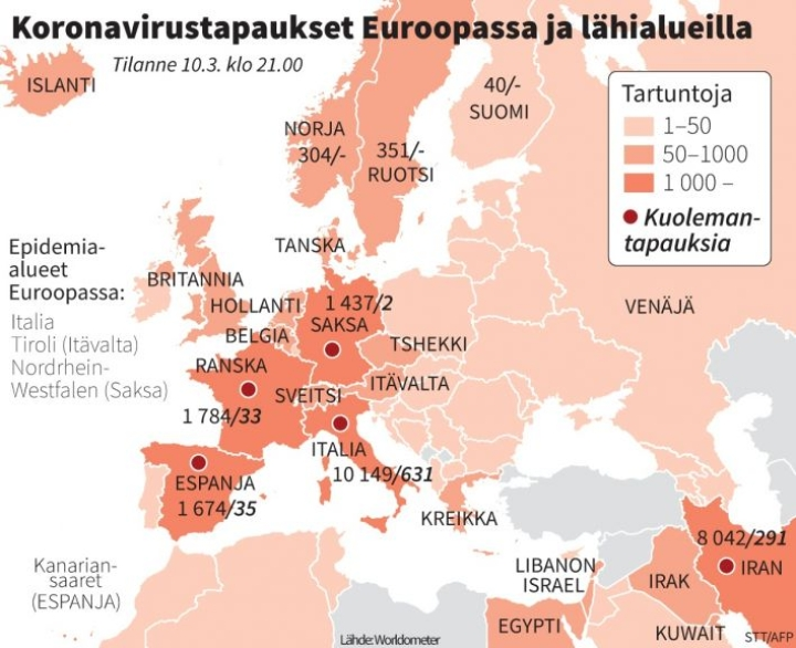 Italiassa yhteensä tartuntoja on jo pitkälti yli 10 000 ja kuolleita 631. Grafiikka: STT / Matti Kiipula