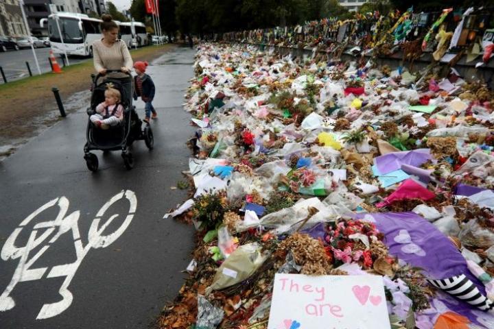 Yhteensä 50 ihmistä sai surmansa tulituksessa kahdessa moskeijassa Christchurchissa vajaa kuukausi sitten. LEHTIKUVA/AFP