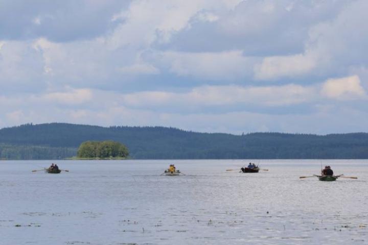 Pielisen pinta on tällä hetkellä noin 25 senttiä normaalia alempana. Kuva soutu-uistelun SM-kisoista heinäkuun alusta.