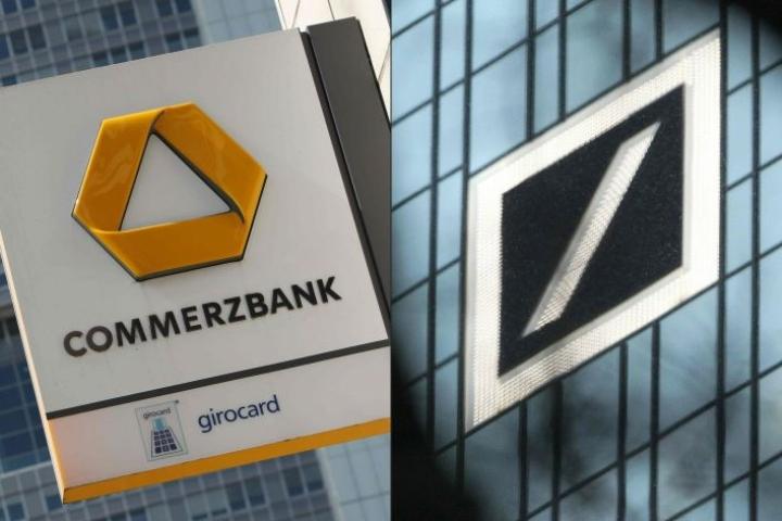 Deutsche Bankin ja Commerzbankin keskustelut eivät välttämättä johda yhdistymiseen. LEHTIKUVA / AFP