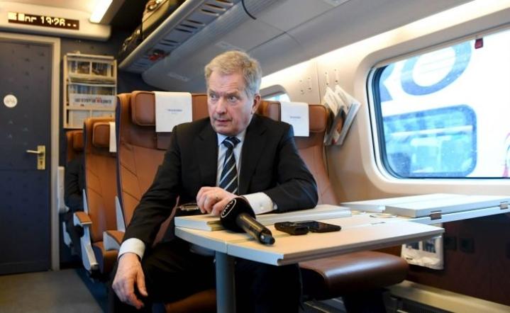 Presidentti Sauli Niinistö matkasi Pietariin junalla, kuva Viipurista. LEHTIKUVA / JUSSI NUKARI
