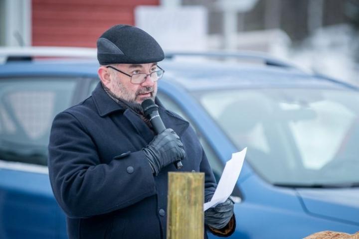 Jari Varjo puhui lauantaina Erätulilla Lieksassa.