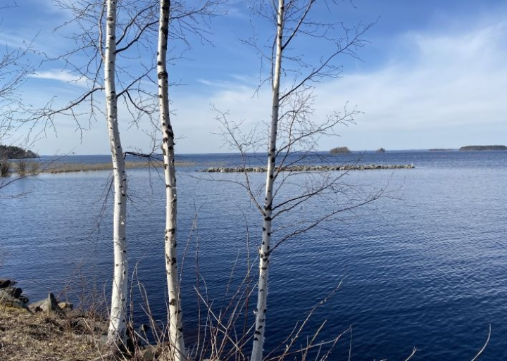Pyhäselkä siintää sinisenä kevään tähän mennessä lämpimimpänä päivänä, kun elohopea nousi Reijolassakin 23 asteeseen.